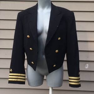Vintage navy cropped military jacket blazer small